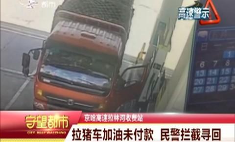 拉猪车加油为付款 民警拦截寻回
