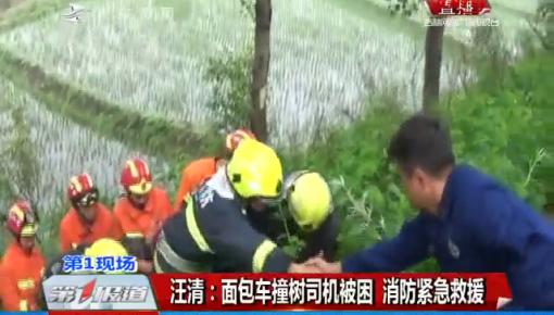 第1报道|汪清:面包车撞树司机被困 消防紧急救援