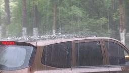 视频素材:强对流天气突袭长岭县  冰雹暴雨齐降