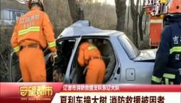 守望都市|辽源市:夏利车撞大树 消防救援被困者