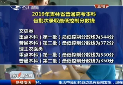 第1报道|2019年吉林省普通高考本科各批次录取最低控制分数线