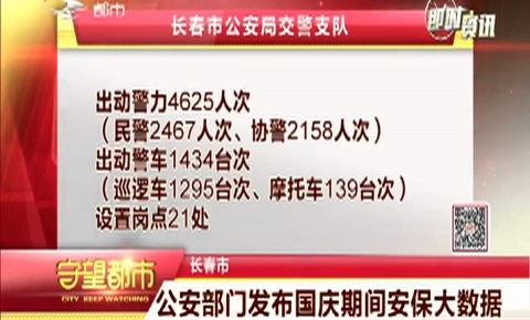 长春市公安局发布国庆期间安保大数据