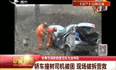 守望都市|轿车撞树司机被困 现场破拆营救