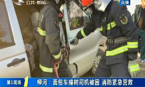 第1报道 柳河:面包车撞树司机被困 消防紧急营救