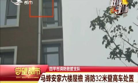 守望都市|马蜂窝安家六楼屋檐 消防32米登高车处置