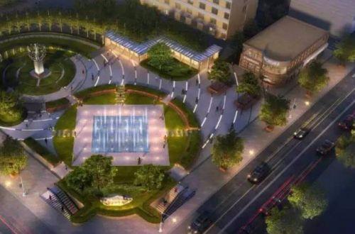 长春重庆路上将建音乐喷泉广场内有雕塑,景观石 还有
