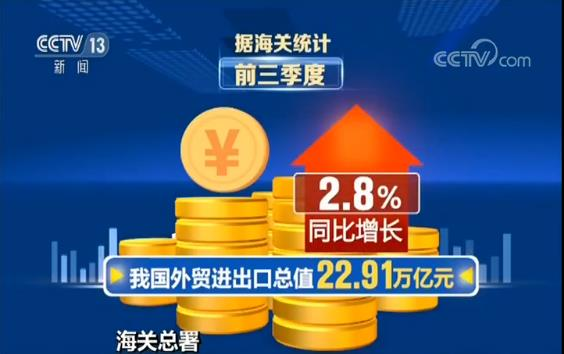 海关总署:我国前三季度外贸进出口同比增长2.8%