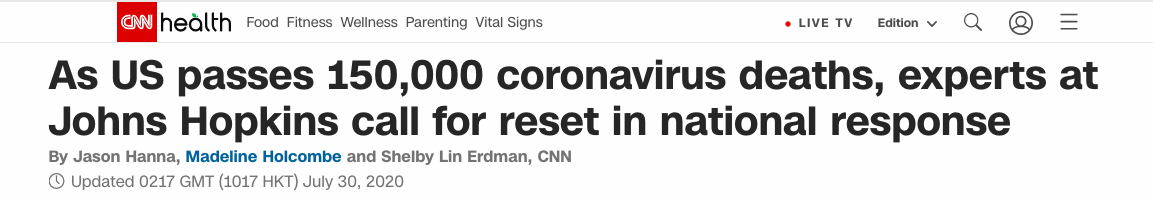 """美国新冠肺炎病亡数超15万 专家报告呼吁白宫抗疫""""推倒重来"""""""