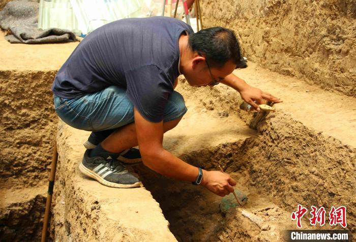 资料图:在滕州大韩东周墓地,考古人员正在清理和发掘的文物。 赵晓 摄