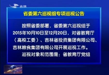 省委第六巡视组专项巡视省教育厅 省投资集团 吉林粮食集团公告
