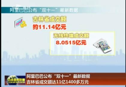 """阿里巴巴公布""""双十一""""最新数据 吉林省成交额达11亿1400多万元"""
