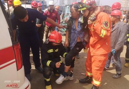 吉林市:钢筋贯穿小腿 消防紧急救援