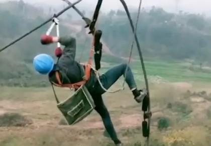 电力工人200米高空作业的画面刷屏 海外网友:了不起!