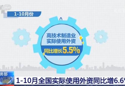 商务部:前10月全国实际使用外资同比增6.6% 高技术产业增长快
