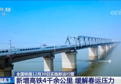 【全国铁路12月30日实施新运行图】新增高铁4千余公里 缓解春运压力