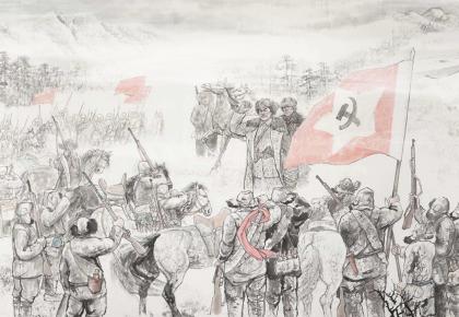 甘灑熱血寫春秋丨人民英雄楊靖宇百米組畫·第四篇章 誓師大會