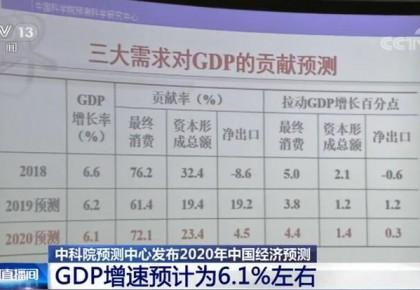 中科院預測中心發布2020年中國經濟預測 GDP增速預計為6.1%左右
