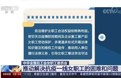 中华全国总工会女职工委员会 推动解决抗疫一线女职工的困难和问题