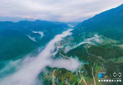 无人机航拍:茶山村的春天
