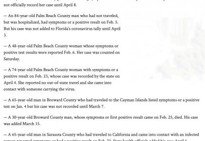 美媒爆料佛罗里达州1月出现新冠肺炎症状患者 官方忙删除资料