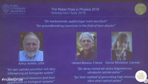 诺贝尔物理奖授予美法加三位激光物理学家!这是第三次授予女性