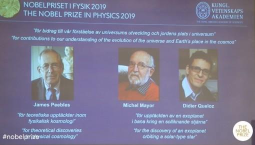 2019年諾貝爾物理學獎揭曉 三位科學家獲獎