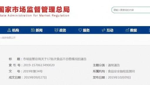 国家市场监管总局抽检八类食品 多个网店产品不合格
