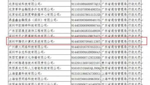 21家企业被纳入电信业务经营不良名单 腾讯在内