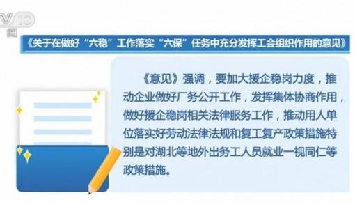 """各級工會要在""""六穩""""""""六保""""中充分發揮作用 積極推進以訓穩崗"""