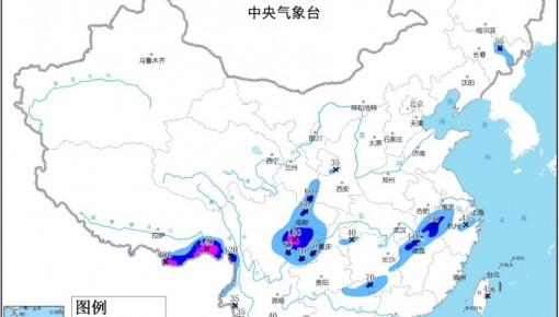 四川广西云南等地有暴雨 山东辽宁内蒙古局地有雷暴大风或冰雹
